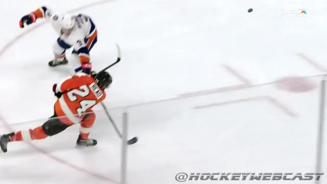 Watch Slow-Mo: Jaroslav Halak goes down, puck gets glued to his neck (@HockeyWebCast) (reddit) GIF by @hockeywebcast on Gfycat. Discover more hockey GIFs on Gfycat