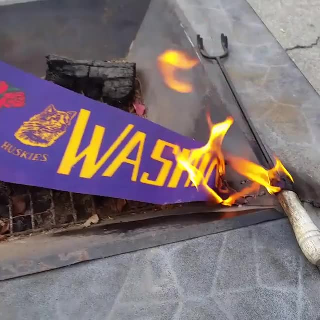 Watch and share Washington Huskies Flag Banner Burn GIFs by Myk Crawford on Gfycat