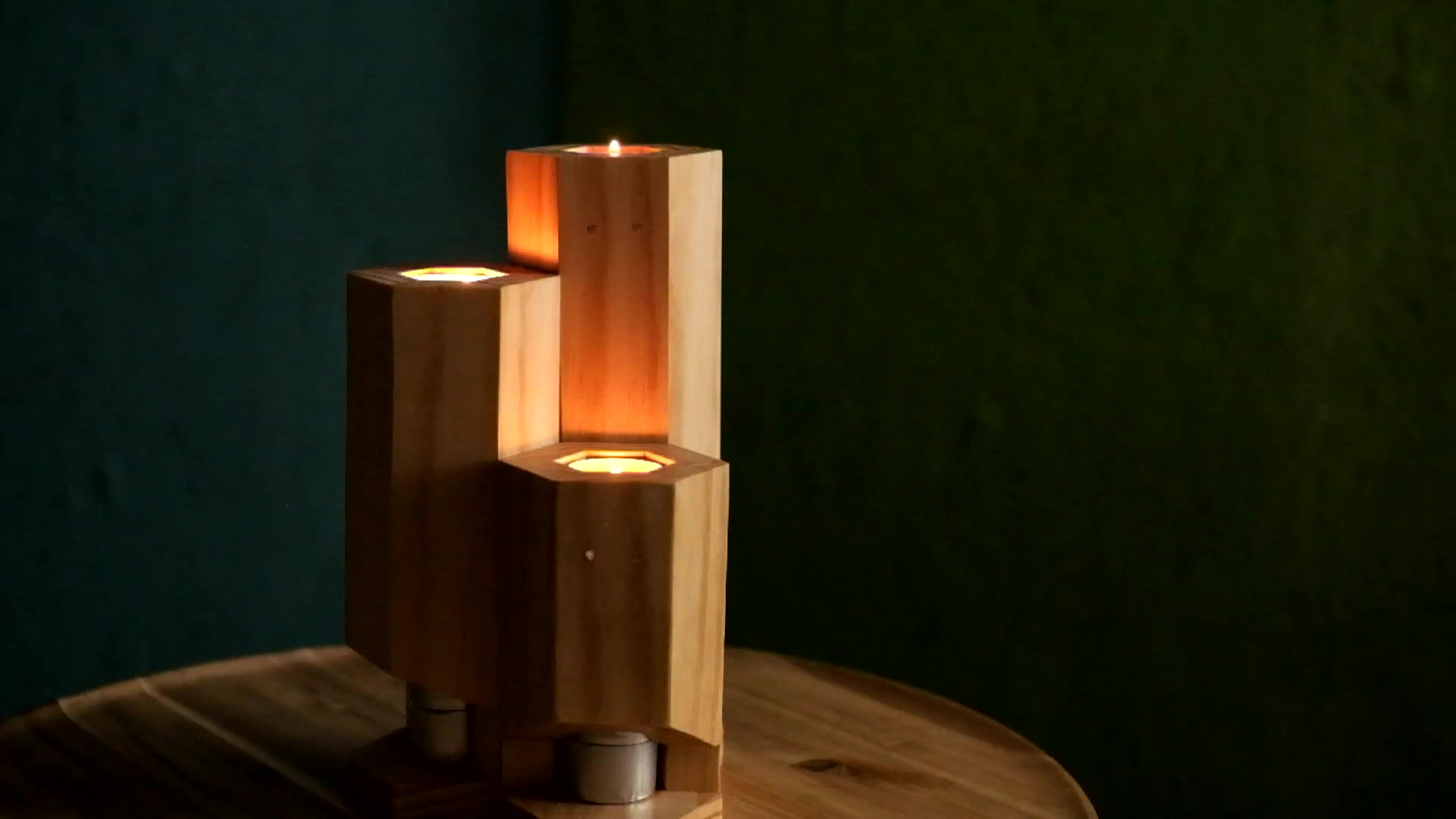 candle, tealights, woodworking, Hexagonal candle holders GIFs