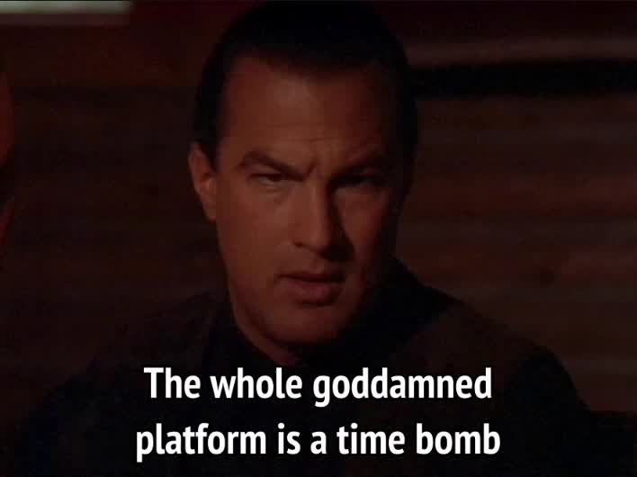bomb, celebs, dangerous, on deadly ground, steven seagal, time bomb, On Deadly Ground - The whole goddamned platform is a time bomb GIFs