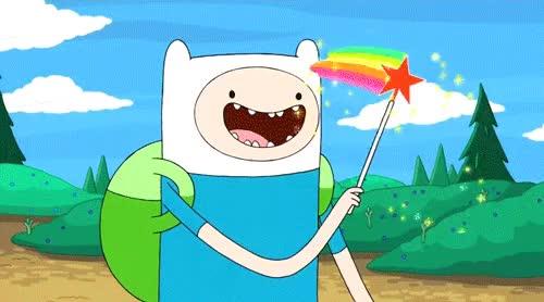 Watch and share Adventure Time Finn Magic Wand Waving Glitter GIFs on Gfycat