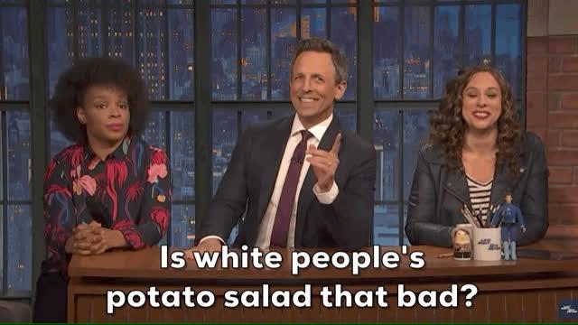 amber ruffin, jenny hagel, jokes seth can't tell, jokessethcanttell, latenight, potato salad, seth meyers, latenight potatosalad GIFs