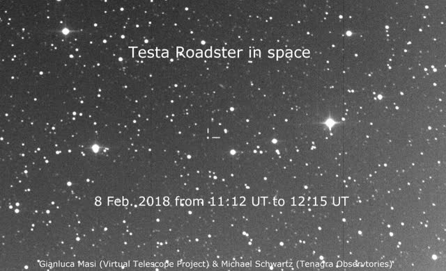 Watch Elon Musk's Tesla Roadster flying through space, as filmed by the Virtual Telescope Project GIF by Dave Mosher (@davemosher) on Gfycat. Discover more astronomy, cars, elon musk, falcon heavy, rockets, spacex, starman, tesla GIFs on Gfycat