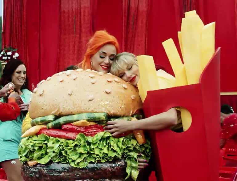 before, bff, burger, calm, celebs, down, fries, guys, hug, hungry, i, katy, katy perry, love, need, perry, swift, taylor, to, you, Taylor Swift - You Need To Calm Down GIFs