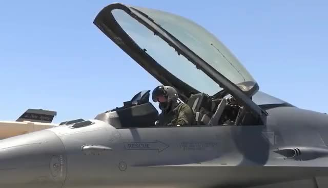 F-16 Fighter Jets Preflight + Takeoff/Landing At Nellis AFB GIF