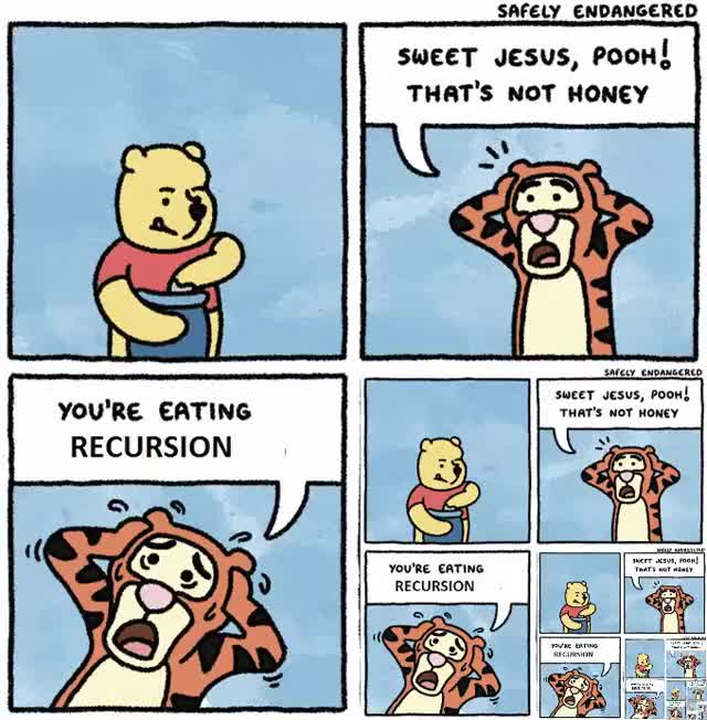 Watch Winnie the Pooh eating recursion GIF by Jeff (@jeffrey) on Gfycat. Discover more programmerhumor GIFs on Gfycat