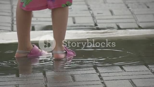 pink sandals, The Little Girl walking on puddle  GIFs