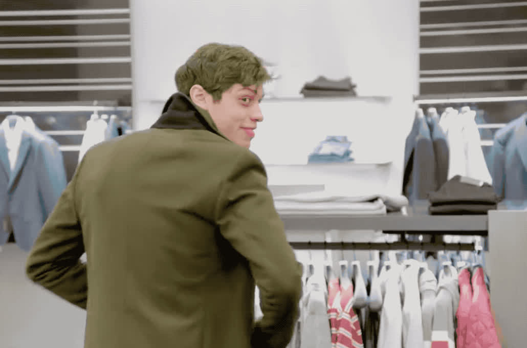 cool, davidson, doing, eye, flirt, france, hello, hey, how, live, night, pete, queer, saturday, shop, snl, tan, there, turn, you, Pete Davidson - Hey you GIFs