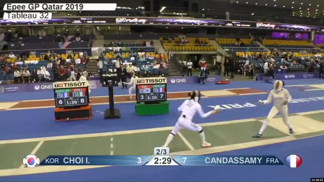 Watch CHOI L 4 GIF by Scott Dubinsky (@fencingdatabase) on Gfycat. Discover more gender:, leftname: CHOI L, leftscore: 4, rightname: CAN DASSAMY, rightscore: 7, time: 00021337, touch: left, tournament: doha2019, weapon: epee GIFs on Gfycat