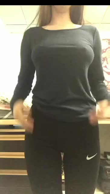 massaging and flashing her large boobs