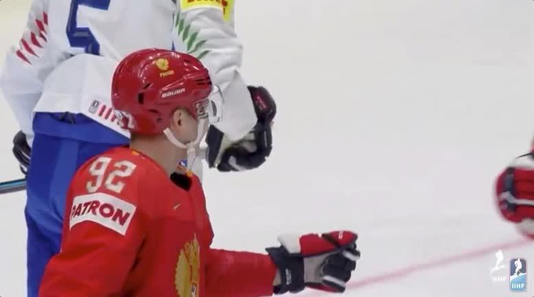 Evgeny Kuznestov and Alex Ovechkin IIHF fistbump GIFs