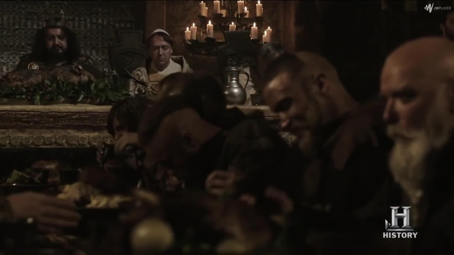Aethelwulf, Arne, Dinner, Erik, Feast, Floki, King Aella, Leif, Ragnar Lodbrok, Torstein, Dinner At King Aella's Villa GIFs
