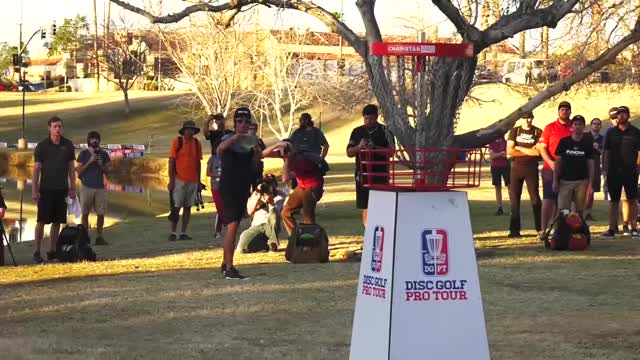Watch Round Three 2019 Memorial Championship - Eagle McMahon hole 18 putt GIF by Benn Wineka UWDG (@bennwineka) on Gfycat. Discover more Sports, dgpt, disc golf, disc golf pro tour GIFs on Gfycat