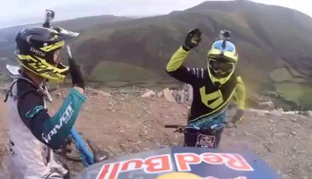 Watch and share Extreme Downhill Mountain Bike Racing   Red Bull Hardline 2016 GIFs on Gfycat