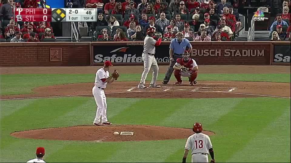 baseballgifs, Ryan Howard hits a bomb off Mike Leake GIFs