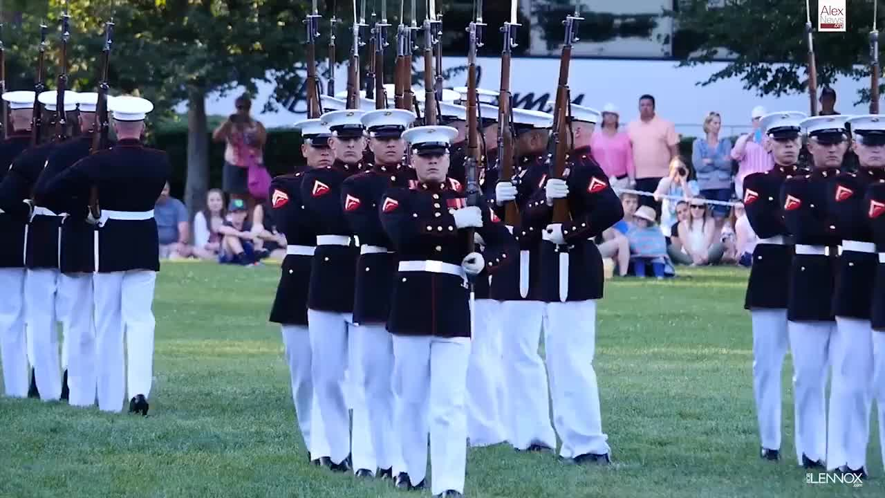 Evening, Honor, MARINES, Marching, Platoon, Proud, bugles, drums, military, performance, rifles, usmc, valor, Watch The Amazing Marine Corps Silent Drill Platoon Perform at the Sunset Parade GIFs