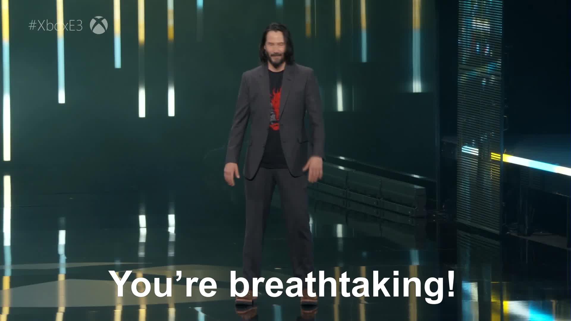 cyberpunk, cyberpunk 2077, e3 2019, game, games, gamespot, gaming, juego, keanu, keanu reeves, video game, witcher, Cyberpunk 2077 - Keanu Reeves On Stage   Microsoft Xbox E3 2019 GIFs