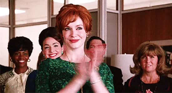 Watch and share Christina Hendricks GIFs and Clapping GIFs on Gfycat