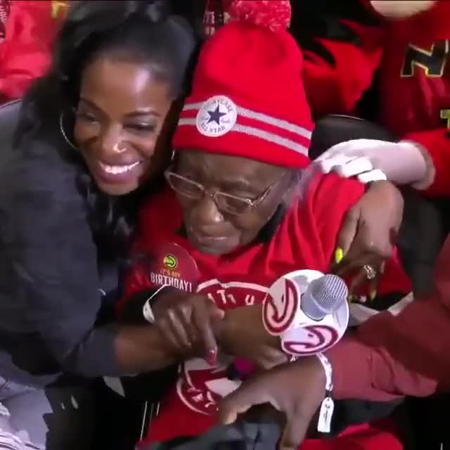 """Watch and share Fan Turned 102 Years Old Today So The Hawks Gave Her A Custom """"102"""" Jersey GIFs by aryak11 on Gfycat"""