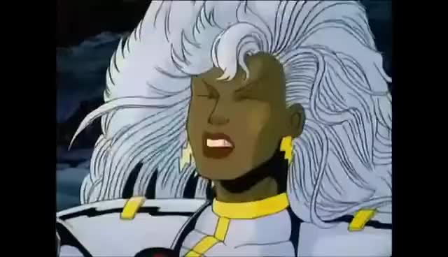 Watch this storm GIF on Gfycat. Discover more 1992, Hero, Mutant, Storm, Villain, X-Men, animated, control, evil, eyes, hero, king, laugh, mutant, possession, power, psyche, queen, red, shadow, sike, storm, villain, wicked, x-men GIFs on Gfycat