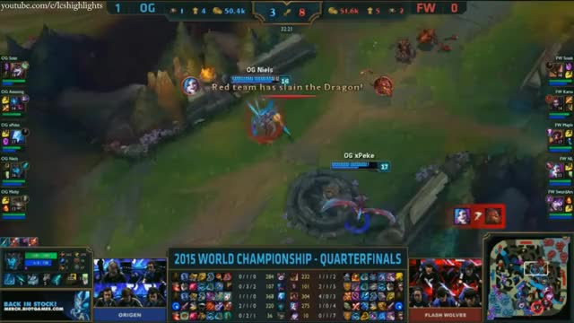 FW vs OG Highlights - FLASH WOLVES vs ORIGEN Game 2 - S5 WORLDS 2015 KNOCKOUT STAGE - QUARTERFINALS