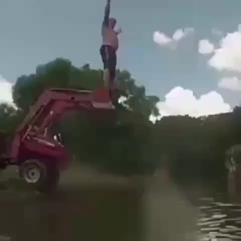 funny, fail, Big guy jumping off dozer bucket GIFs