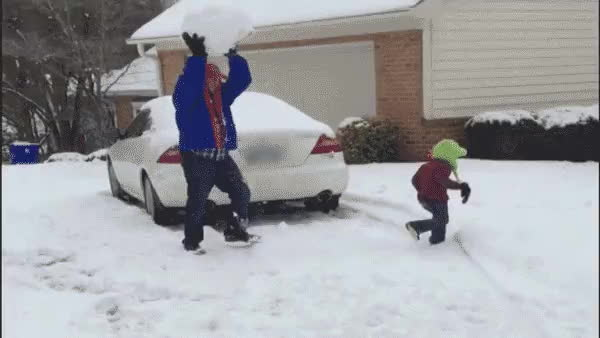 ChildrenFallingOver, PeopleBeingJerks, peoplebeingjerks, snowball fight GIFs