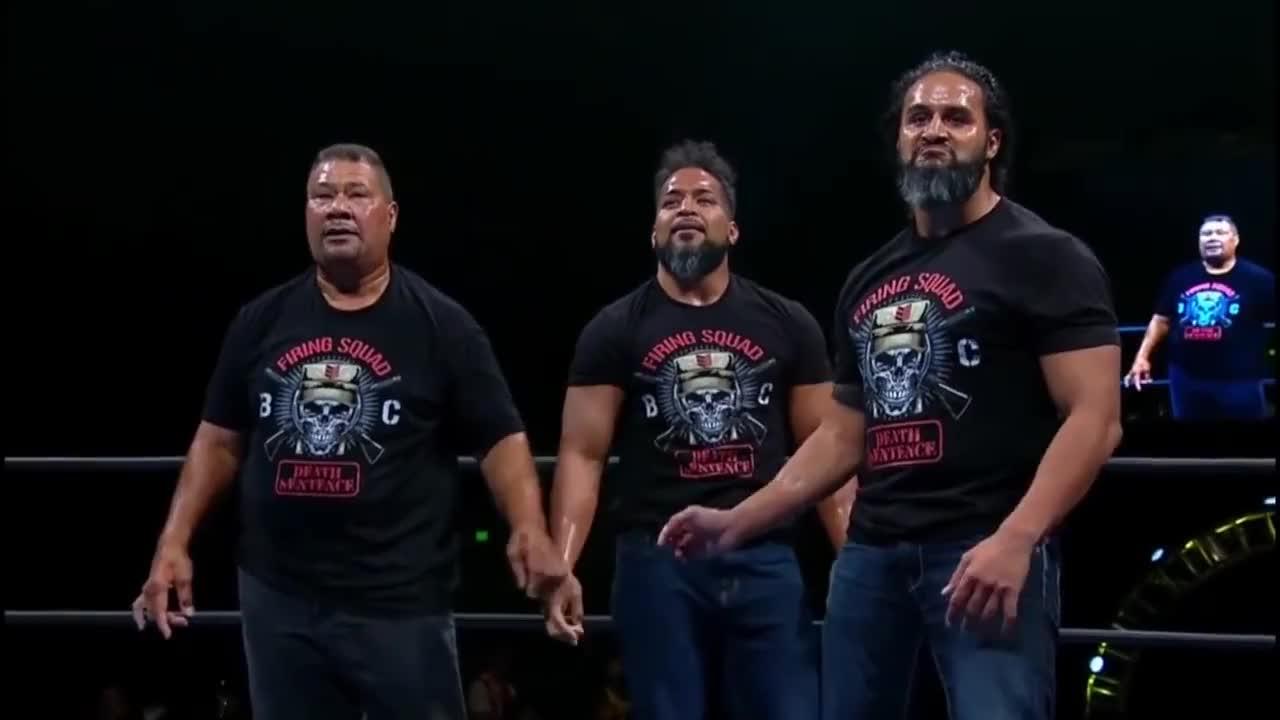 NJPW, Tama Tonga destroys Kenny Omega (Firing Squad attacks Bullet Club) GIFs