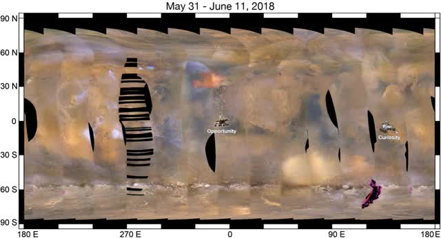 Watch Mars global dust storm animation - June 2018 (NASA PIA22519) GIF by Dave Mosher (@davemosher) on Gfycat. Discover more dust storm, mars, nasa, planets, solar system, weather GIFs on Gfycat