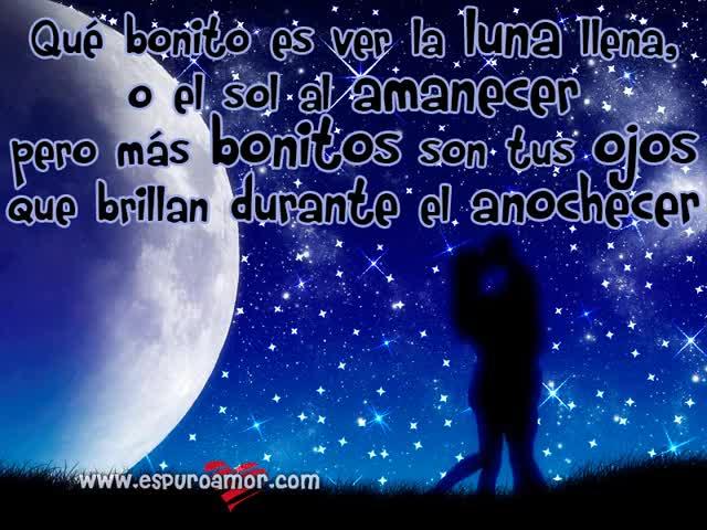 Watch and share Beso Romantico Que Bonito Es Ver La Luna Llena El Sol Al Amanecer Pero Mas Bonito Son Tus Ojos Que Brillan Durante El Anochecer GIFs on Gfycat