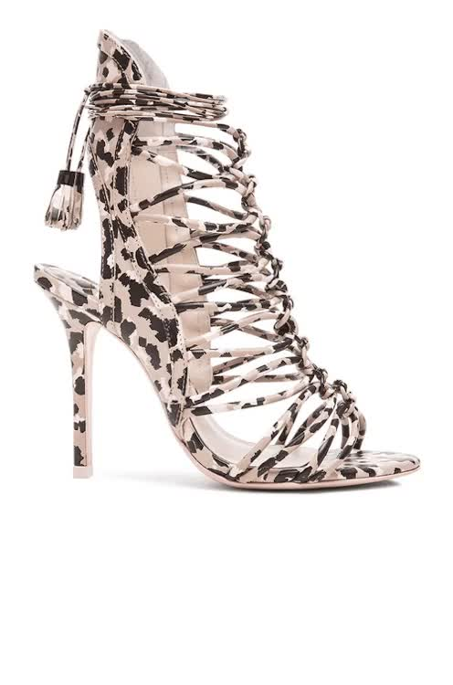 Watch this high heel GIF on Gfycat. Discover more camouflage, fashion, forward, heels, high heel, high heels, leather, leather upper, london fashion week fw15, peep toe, shoes, sophia webster GIFs on Gfycat