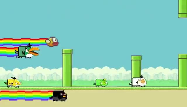 Flappy Bird, Nyan cat, Nyan Flappy Bird GIFs