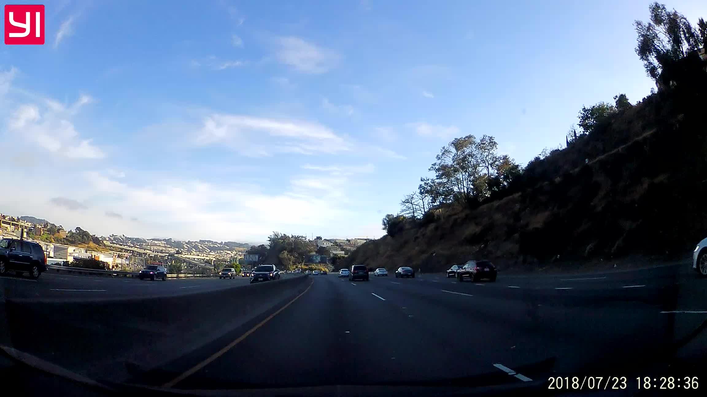 accident, car, crash, dash cam, dashcam, road cam, roadcam, san francisco, Car does a headstand on US 101-N in San Francisco GIFs