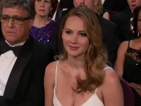 academy awards, celebrate, fist pump, gesture, happy, jennifer lawrence, oscars, we saw your boobs, yes, Jennifer Lawrence - We Saw Your Boobs Oscars 2013 GIFs
