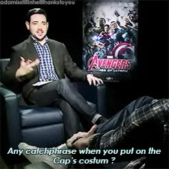 Watch (s) GIF on Gfycat. Discover more >100notes, MYPOSTIT, age of ultron, ago, avengers, captain america, chris evans, chris hemsworth, fri: chrisxchris, friendship, funny gif, funny post, interview, marvel, marvel: interview, source, steve rogers, the avengers, thor GIFs on Gfycat