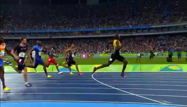 Watch Usain Bolt wins third Olympic 200m gold GIF on Gfycat. Discover more related GIFs on Gfycat