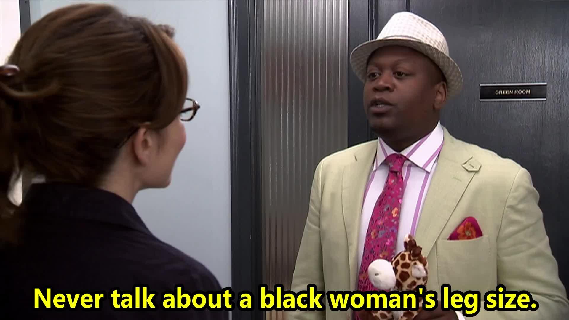 30 ROCK, D'Fwan, Jordan, Queen, S06E20, black, celebs, leg, of, size, talk, tina fey, tituss burgess, woman, Never talk about a black woman's leg size GIFs