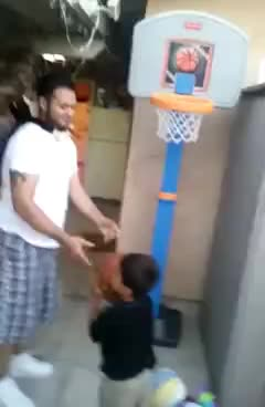 Dads, Sports, basketball, kids, Adult Rejects Little Kid Basketball Shot GIFs