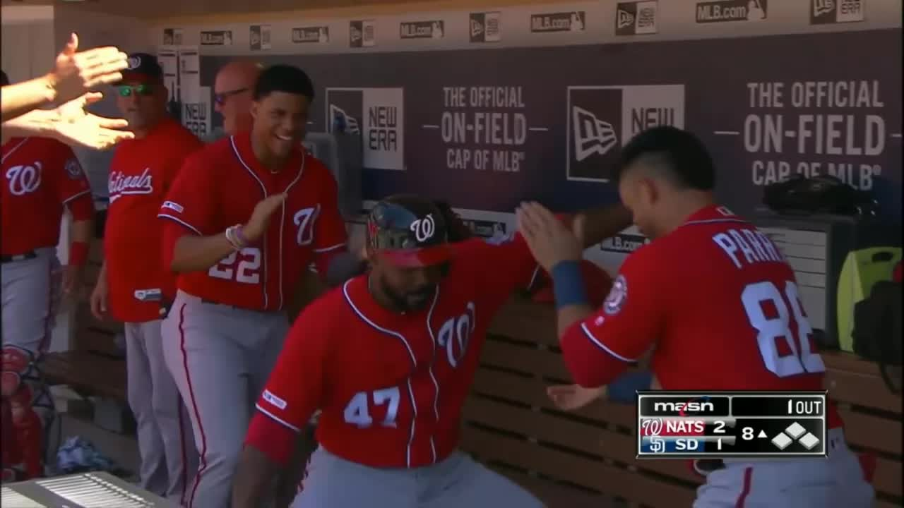 baseball, dancing, nationals, washington nationals, howie kendrick dancing in the dugout GIFs