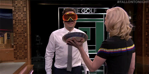 fallon tonight, january jones, jimmy fallon, the tonight show, the tonight show starring jimmy fallon, Jimmy and Bubba Watson get a pie smashed in their face by January Jones each time their opponent successfully hits a target with a golf ball GIFs