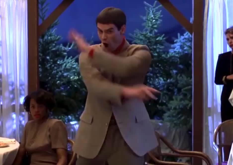 Днем рождение, гиф танец смешной джим керри