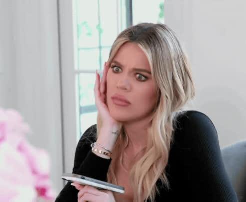 keeping up with the kardashians, khloe kardashian, kuwtk, shocked, shook, wtf, Khloe Kardashian WTF GIFs