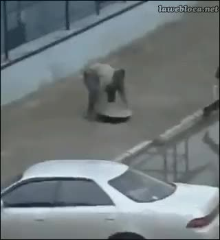 Watch Manhole fights back : IdiotsFightingThings GIF on Gfycat. Discover more related GIFs on Gfycat
