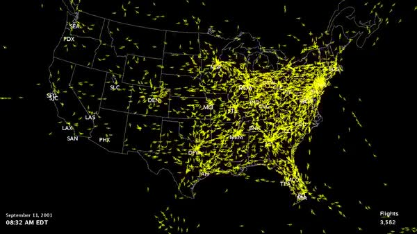 Watch [Map] Airspace over the US and Canada on 9/11 [600x338][GIF] (reddit) GIF on Gfycat. Discover more MapPorn, damnthatsinteresting, interestingasfuck GIFs on Gfycat