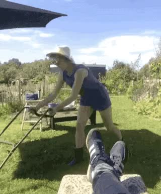 Watch and share Woman Mowing Lawn GIFs and Copenhagen GIFs by cosmicz on Gfycat