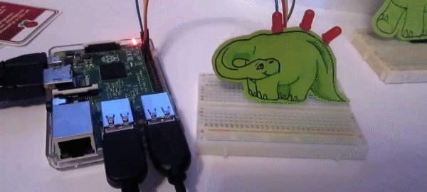 cute, raspberry pi, Raspberry Pi controlled paper dino GIFs