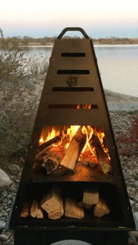 Watch and share Blaze Fire Tower - Wood Burning Fire Pit And Charcoal Grill GIFs on Gfycat