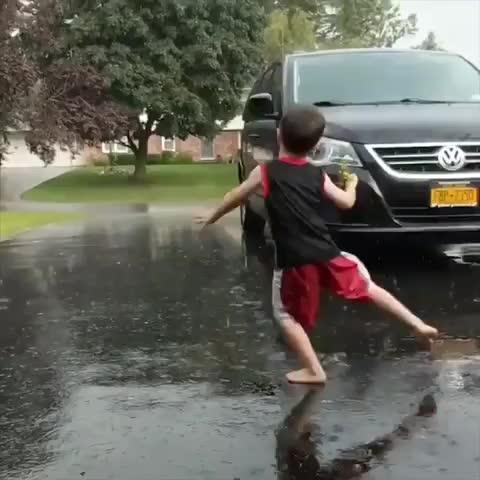 funny, kid, fail, funny, raining, Flippity floppity GIFs