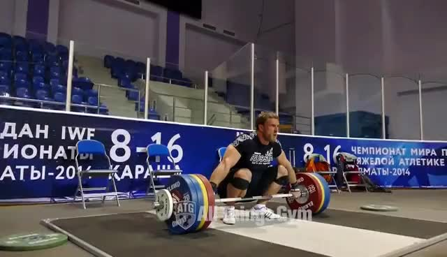 Watch and share Dmitry Klokov 200kg Snatch 2014 Almaty Training Hall World Championships GIFs on Gfycat