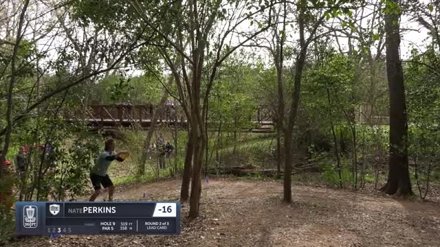 Watch Round Two 2019 Waco Annual Charity Open - Nate Perkins putt hole 9 GIF by Benn Wineka UWDG (@bennwineka) on Gfycat. Discover more Sports, dgpt, disc golf, disc golf pro tour GIFs on Gfycat